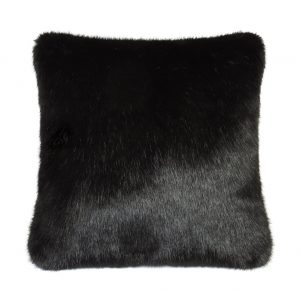Large Fur Black Cushion 70x70cm