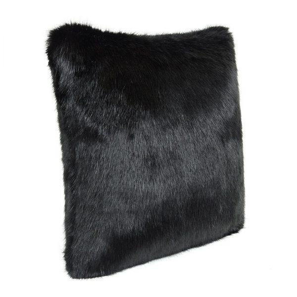 Large Fur Black Cushion 70x70cm