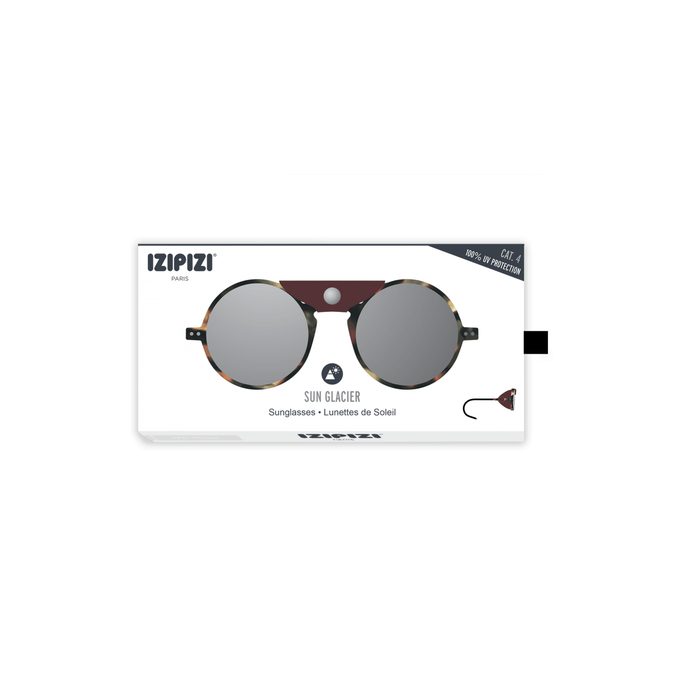 Izipizi Sun Glacier Sunglasses in Tortoise with Soft Brown Shields and Mirror Lens