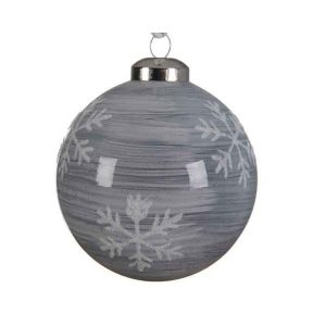 Glass Bauble with Painted Snowflakes