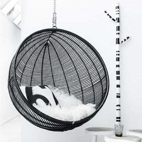 Black Rattan Hanging Bowl Chair