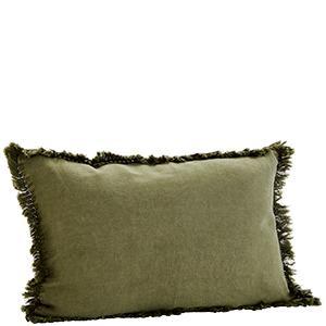 Fringed Olive Stone Wash Cushion