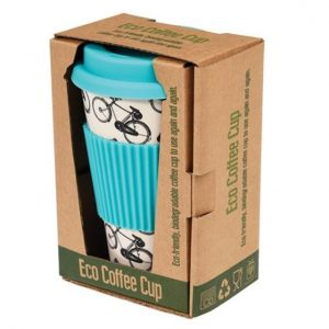 Bamboo Bicycle Riders Travel Mug Blue