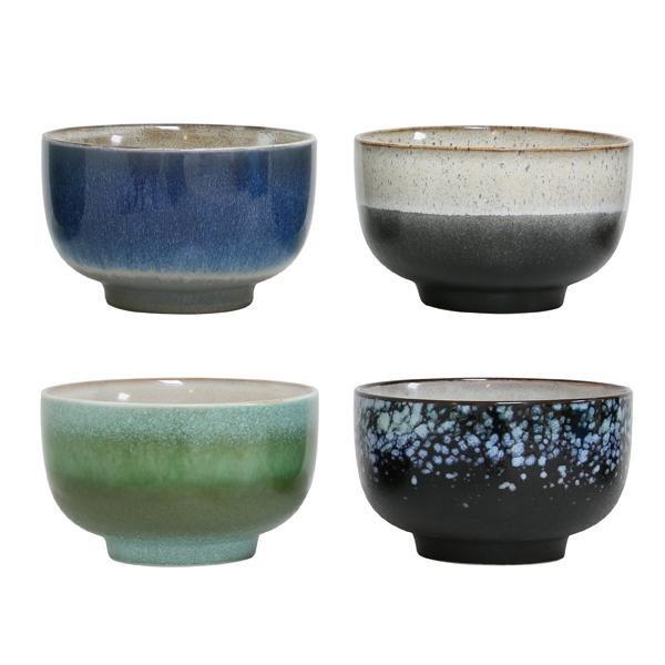 Set of 4 Large Ceramic 70's Style Bowls