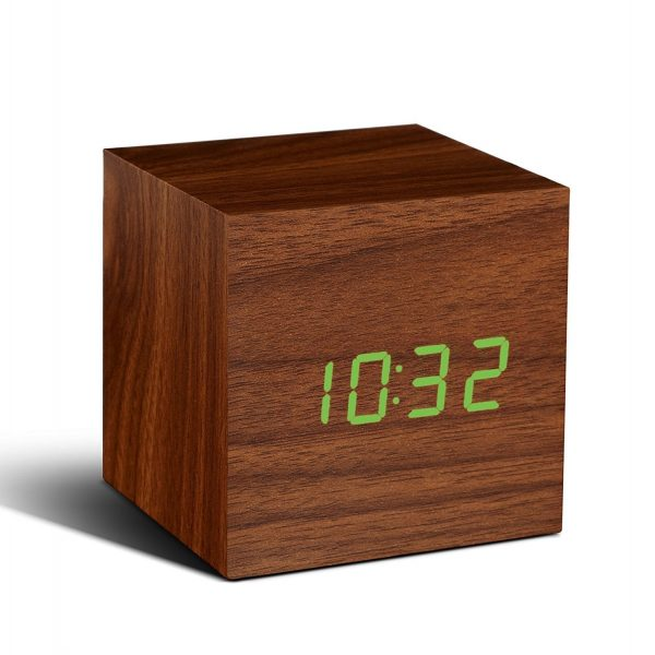 Cube Walnut Click Clock W/Green LED