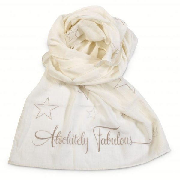 'Absolutely Fabulous' Printed Cream Scarf