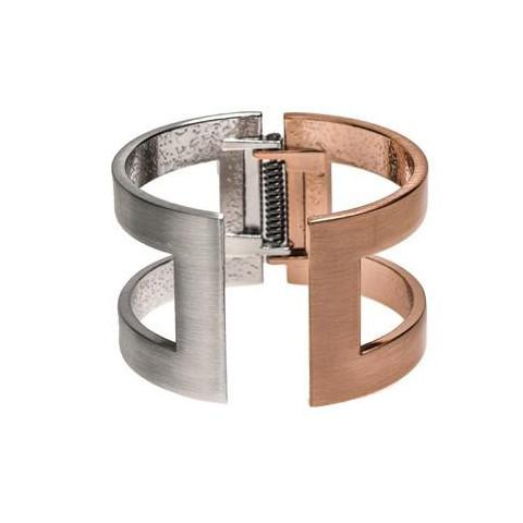 Brushed Silver and Copper Cuff