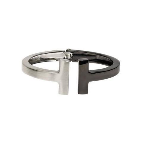Brushed Silver and Black Nickel Bracelet