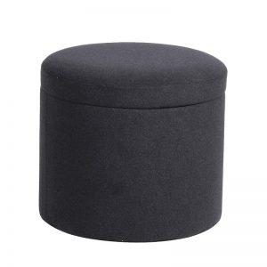 Grey Felt Round Footstool