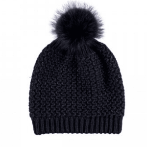Glitter Knitted Wool & Raccoon Hat Midnight Blue