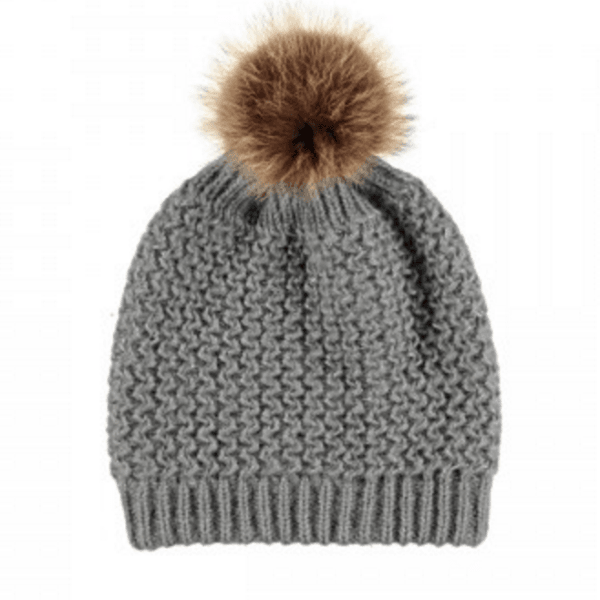 Glitter Knitted Wool and Raccoon Hat