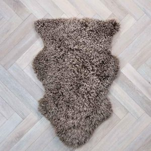 Curly Sheepskin Rug Taupe Large