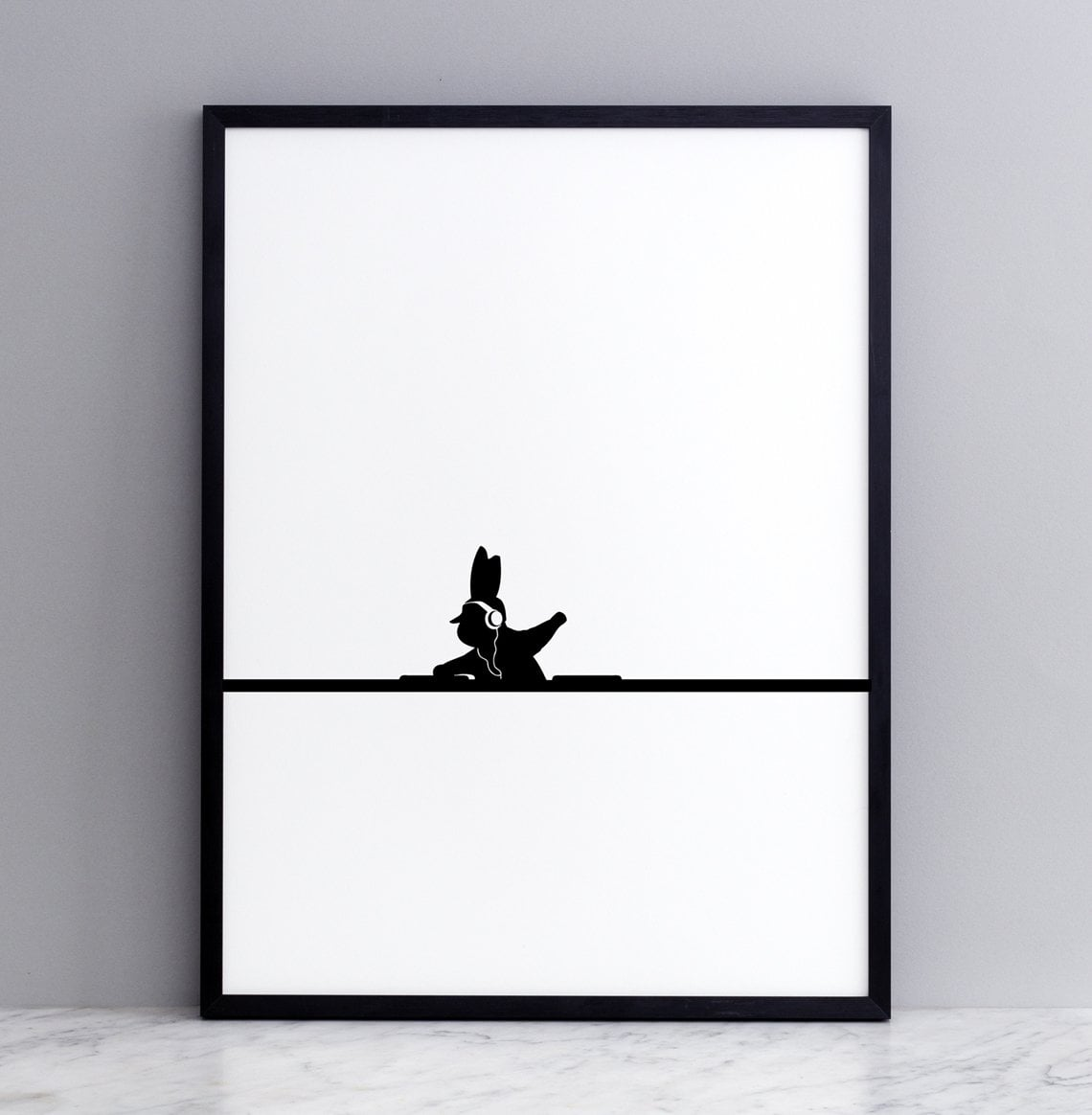 DJ Rabbit Print with Frame