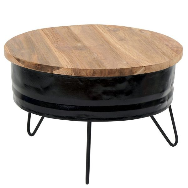 Barrel Base Wood Top Side Table