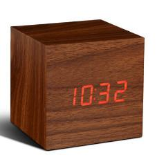 Cube Walnut Click Clock Red LED