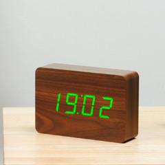 Brick Walnut Click Clock Green LED