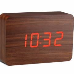 Brick Walnut Click Clock Red LED