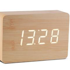 Brick Beech Click Clock White LED