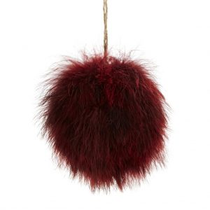 Fluffy Burgundy Feather Bauble