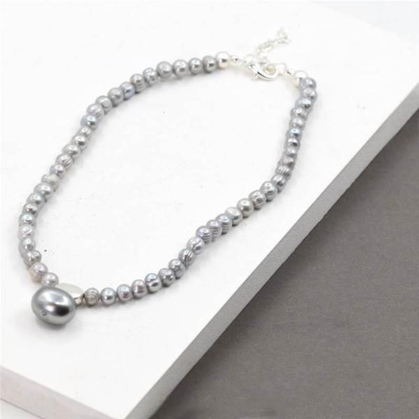 Grey Pearl Necklace with Large Grey Pearl Feature