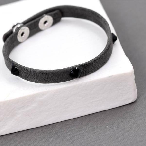 Crystal Studded Leather Look Bracelet - Dark Grey