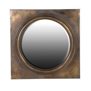 Gold Antiqued Round Mirror in Square Frame