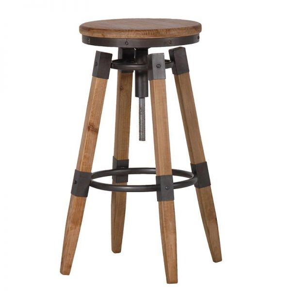 Adjustable Wood & Metal Bar Stool