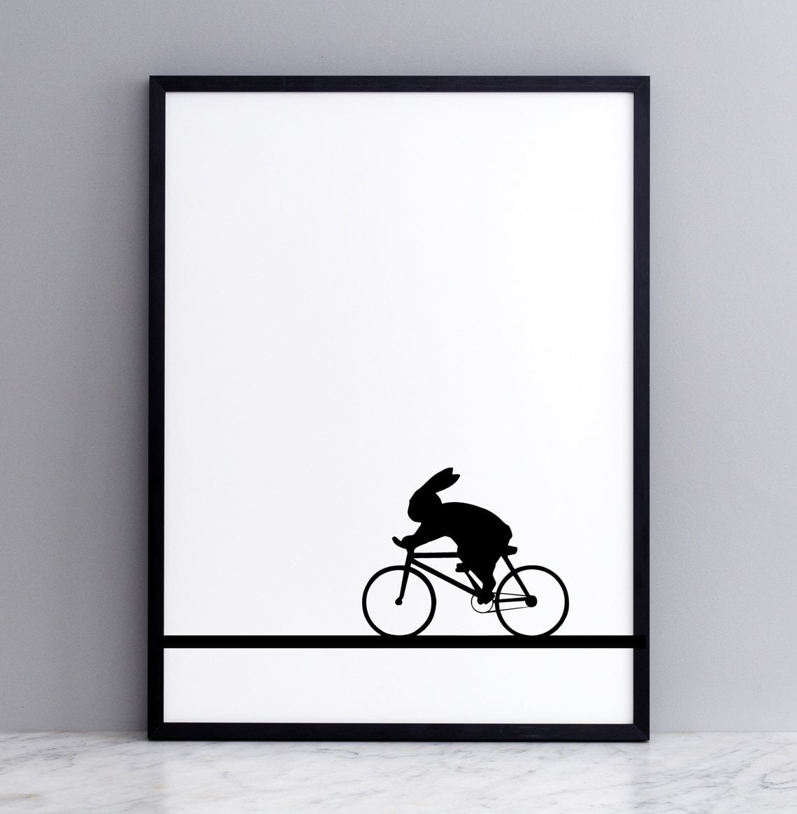 Racing Bike Rabbit Print with Frame