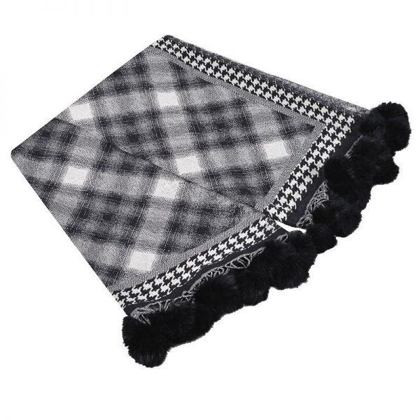 Black & White Check Throw with Rabbit trim PomPoms