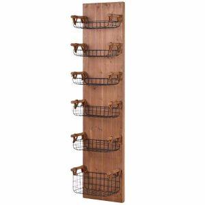6-Tray Wood Wall Rack