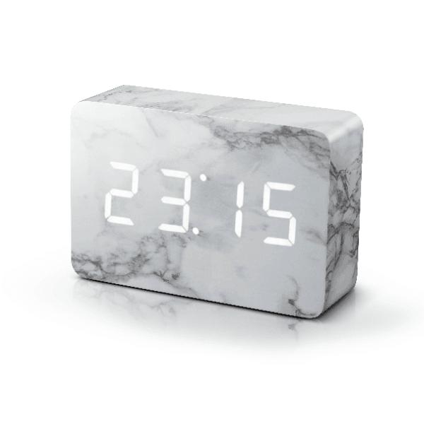 Brick Marble Click Clock White LED