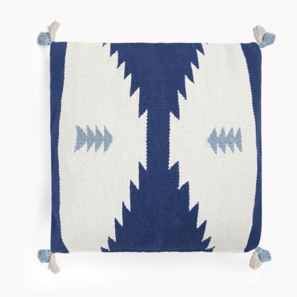 Aztec Design Blue & White Dhurrie Cotton Cushion