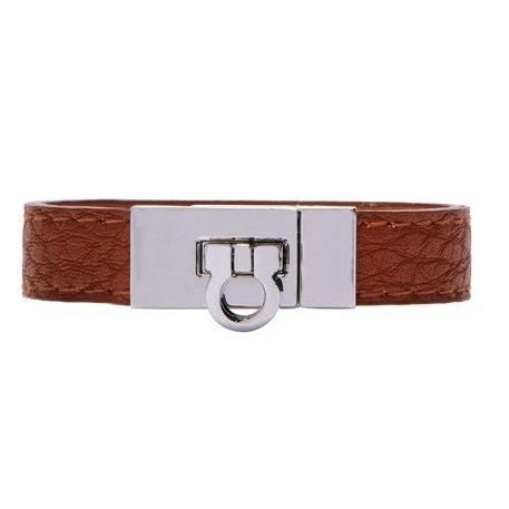Faux Leather Clasped Bracelet