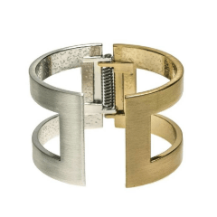 Brushed Silver and Gold Cuff Bracelet