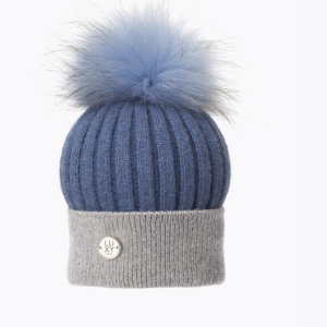 Harley Blue & Grey Pom Pom Hat