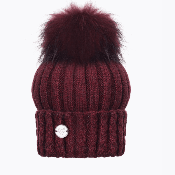 Boston Berry Cable Rib Pom Pom Hat