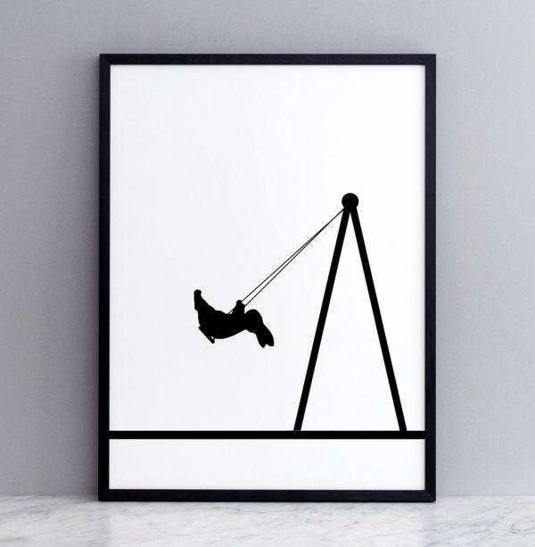 Framed Swing Rabbit Print