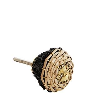 Black Beaded & Natural Braided Bamboo Knob