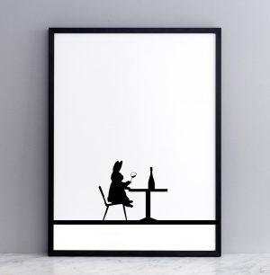 Framed Wine Tasting Rabbit Print