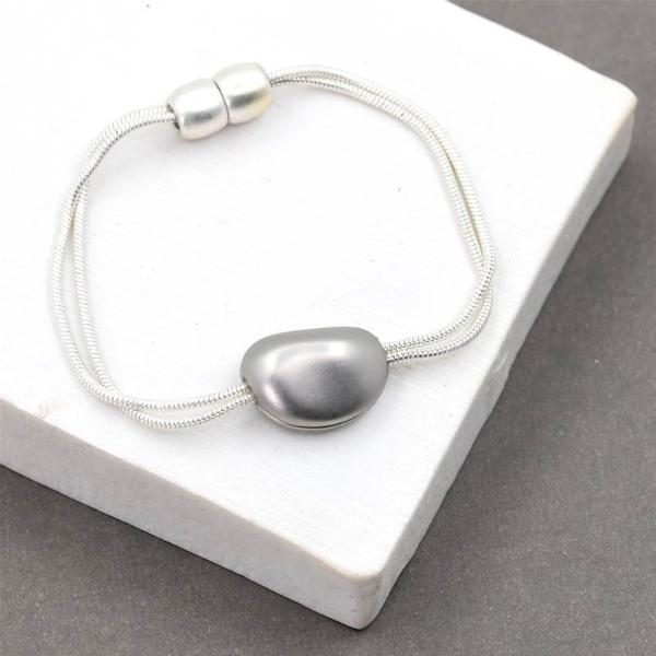 Double Metal Strand Bracelet with Pebble Pendant