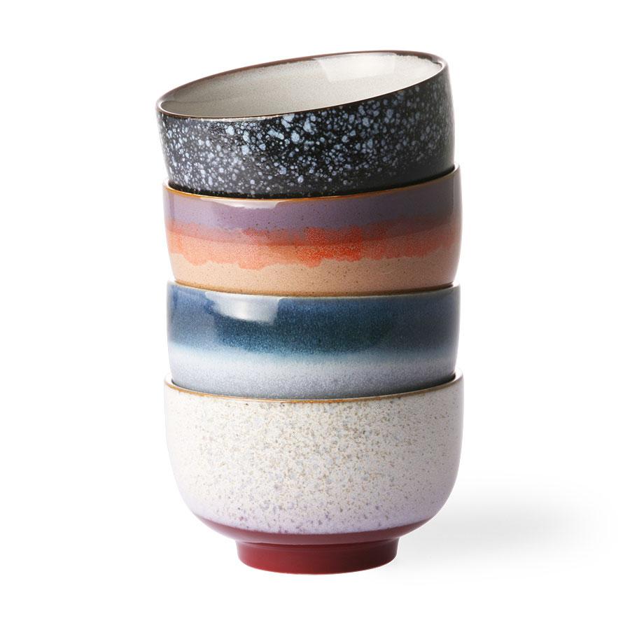 Set of 4 Ceramic 70's Style Noodle Bowls