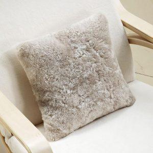 Curly Fur Cushion Beige