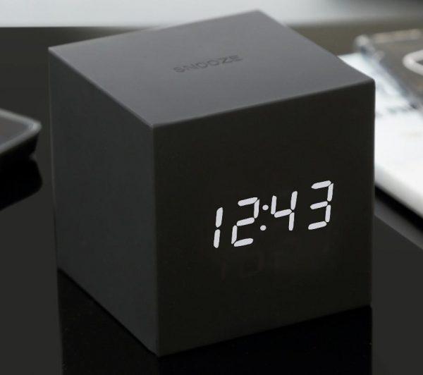 Gravity Cube Click Clock Black