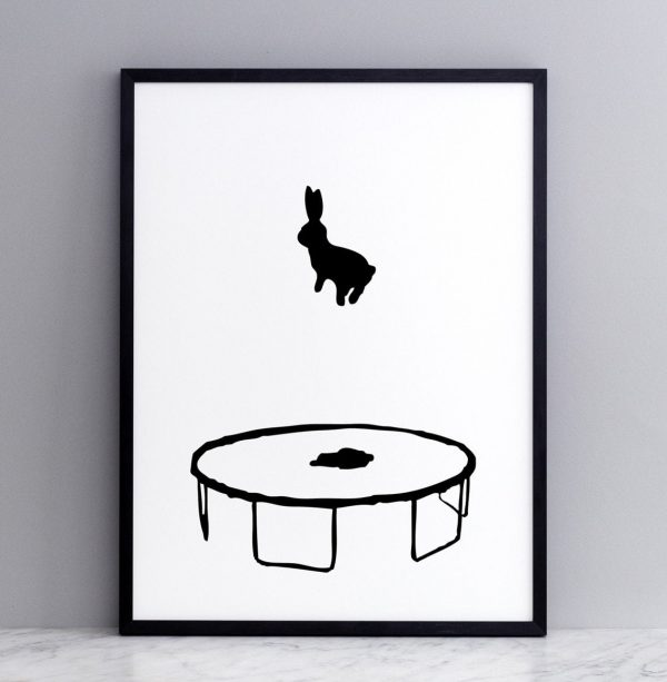 Framed Bouncing Rabbit Print