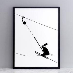Framed Button Lift Rabbit Print