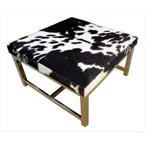 Black Cow Hide Table With Stainless Steel Legs