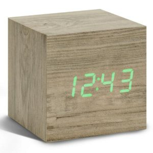 Cube Ash Click Clock Green LED