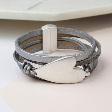 Grey Leather Silver Plated Heart Bracelet
