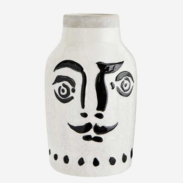 Ceramic Vase with Painted Face Large