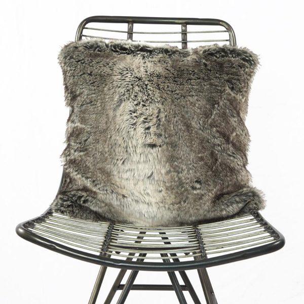 Faux Fur Cushion Wolf Grey